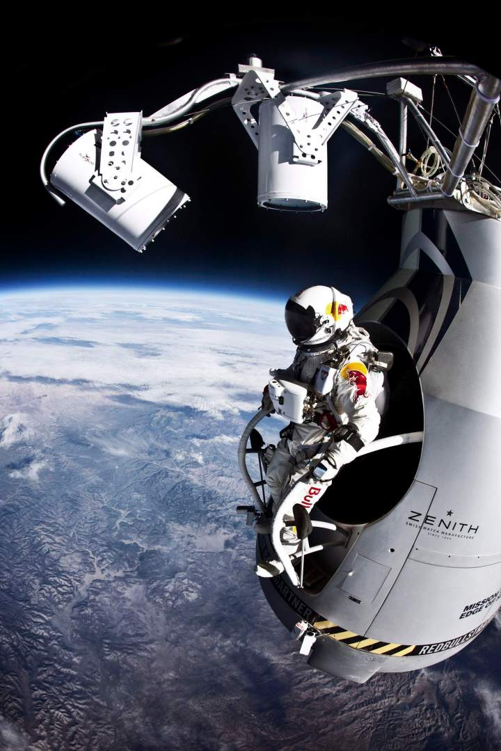 Pilot Felix Baumgartner of Austria prepares to jump from the altitude of 29455 meters during the second manned test flight for Red Bull Stratos in Roswell, New Mexico, USA on July 25, 2012.